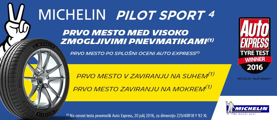 PC Zorman - MICHELIN Pilot Sport 4 zmagovalec testa pnevmatik  Auto Express 2016